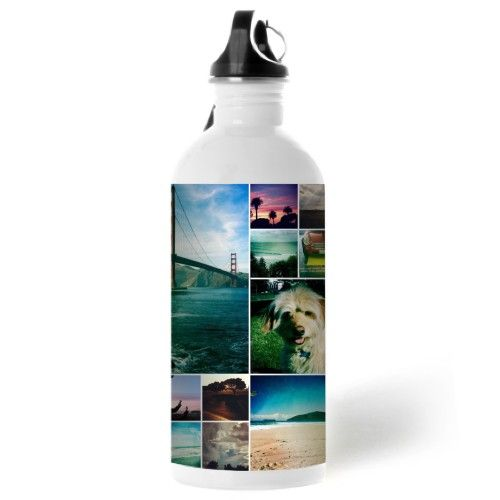 Collage Squares Water Bottle