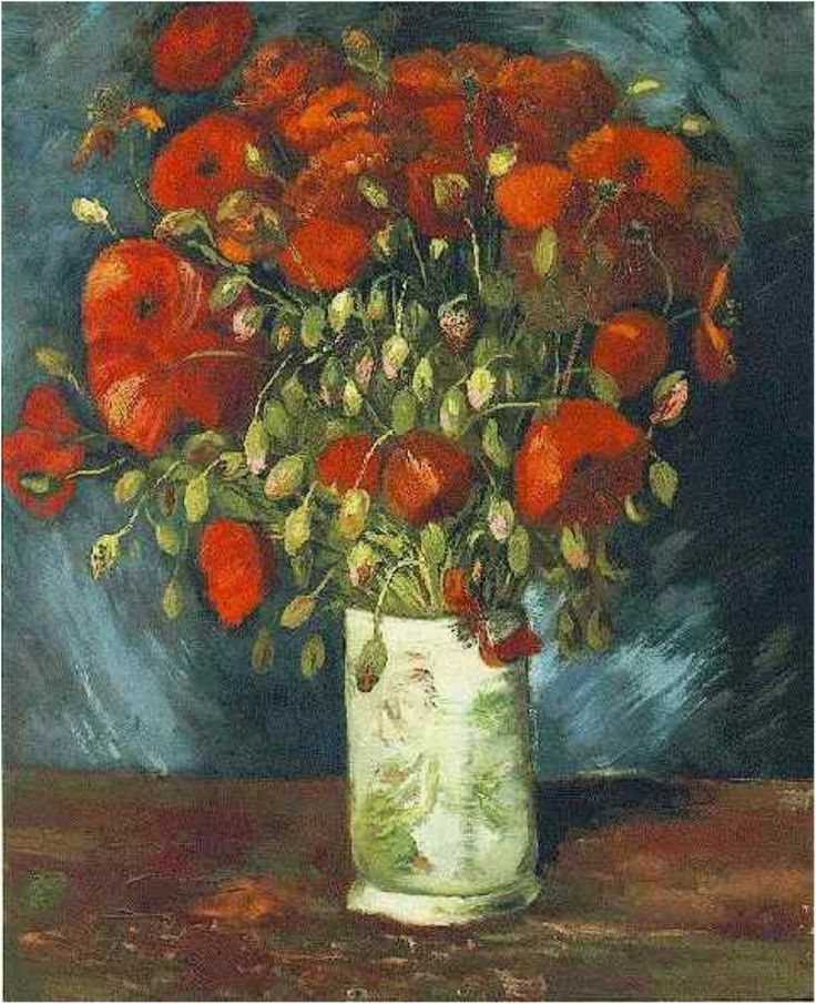 'Vase with Red Poppies', 1886 - van Gogh The famous Van Gogh painting Poppy Flowers (aka Vase And Flowers) has been stolen in Cairo and is still missing, despite previous reports!