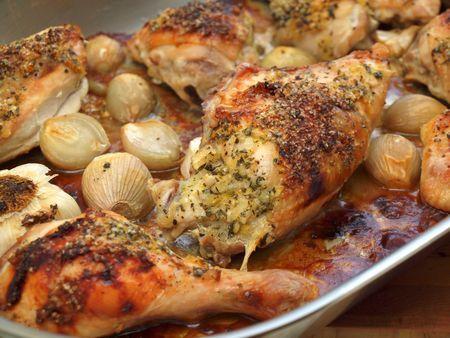 Sunday Night Roast Chicken - shallots - whole head garlic - olive oil - chicken - kosher salt - Herbed Butter - unsalted butter - honey - lemon - shallot - 5 fresh sage leaves - fresh thyme - fresh rosemary