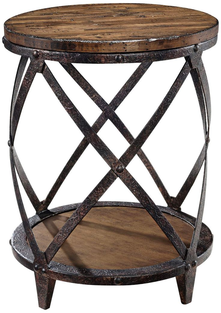 END TABLE IDEA - STYLE AND COLOR COMPLIMENT THE WINE BARRELL TABLE!  Pinebrook Round Accent Table | 55DowningStreet.com