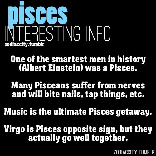 True about Pisces ! Me(Pisces) my hubby (Virgo) must be true!! Steve Jobs was a Pisces also!