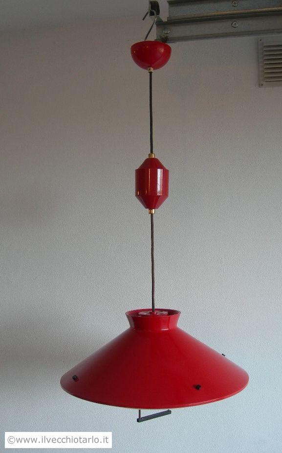 Lampadario anni 50originael Stilnovo Milano colore rosso