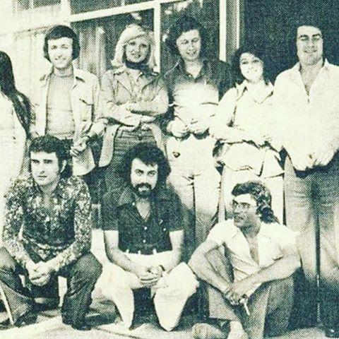 1975 yılı. Erol Evgin, Gökben, Esin  Engin, Funda ve Ertan Anapa. Oturanlar: Alpay, Ali Kocatepe, Attila Özdemiroğlu.