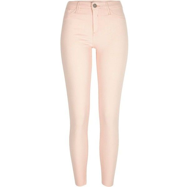 River Island Peach pink Molly jeggings ($80) ❤ liked on Polyvore featuring pants, leggings, bottoms, jeans, jeggings, pink, women, 5 pocket pants, skinny pants and denim leggings