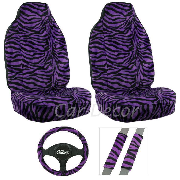 Zebra Purple Auto Seat Cover Girly Car Accessory