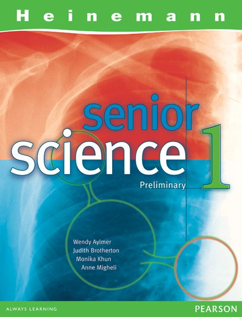 Heinemann Senior Science 1: full and detailed coverage of HSC core modules plus two options; clear explanations of concepts in language students can understand; colourful, innovative and stimulating design;  easy-to-follow layout including clearly structured sections; relevant, high-interest material that draws on student interest and experience; knowledge and understanding are now developed in the Prescribed Focus Areas within the Contexts outlined by the Board of Studies