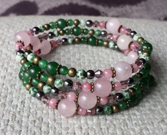 Rose Quartz Adventurine Tree Agate & by BeanCreationsbyGill, $25.00