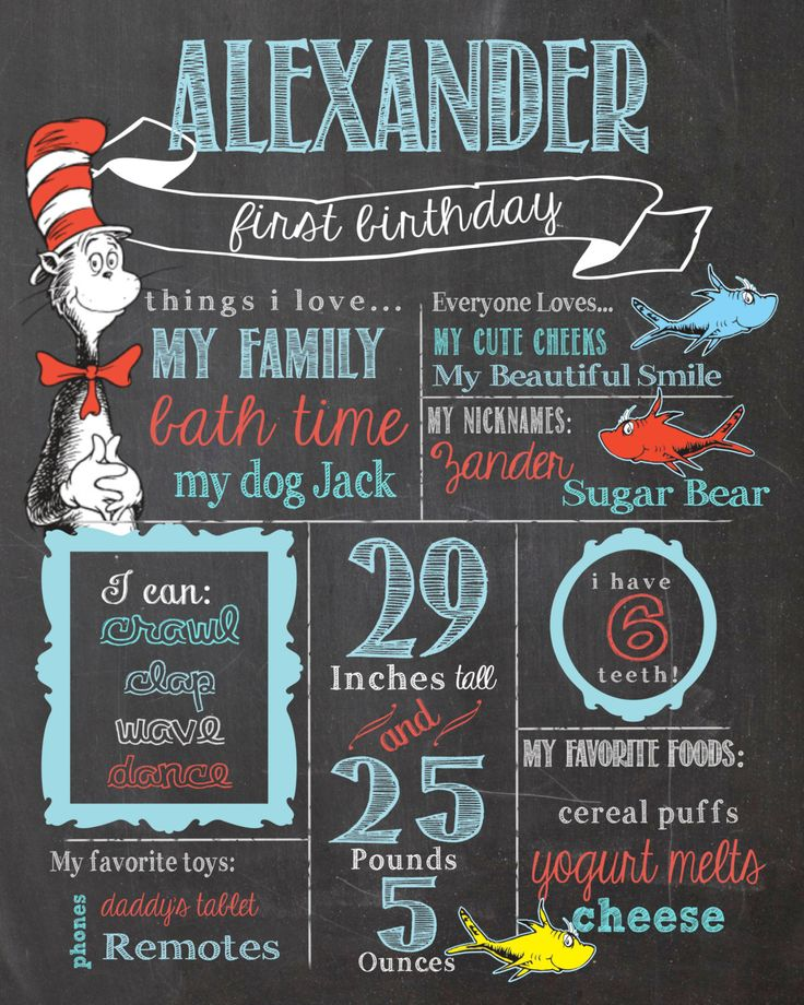 Dr.+Suess+Birthday+Chalkboard+Sign+/+Printable+/+by+SuziQPrintShop,+$12.50 for Izlee's first birthday! :)