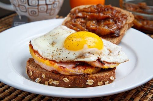 Peameal Bacon Breakfast Sandwich with Maple Caramelized Onions and a Fried Egg: Bacon Breakfast, Peameal Bacon, Food, Recipes, Breakfast Sandwiches, Fried Eggs