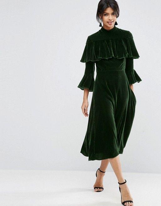 SHOP AW16// ASOS Trumpet Sleeve Velvet Midi Dress - team with a pair of contrasting velvet block heels if you're feeling brave enough