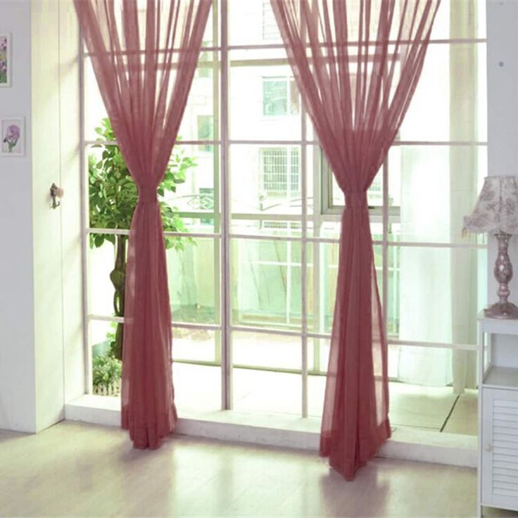 Tulle Voile Door Window Curtain Drape Panel Sheer Scarf Valances Home Rubber Red