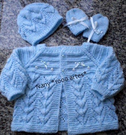 Olá meninas...tudo bem?  Como prometi, voltei com o casaquinho que estava tricotando.  Este modelo recém nascido, tricotei para minha mãe pr...