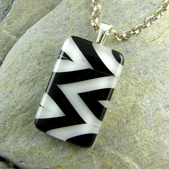 Chevron Black and White Pendant.  Fused Glass by LindsaysDesigns