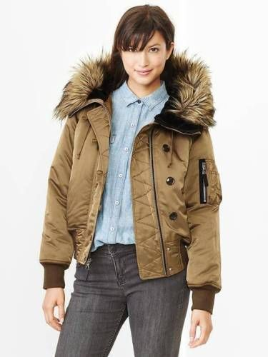 GAP $148 BROWN FAUX FUR HOODED SNORKEL BOMBER COAT JACKET  XS P #GAP #BasicJacket
