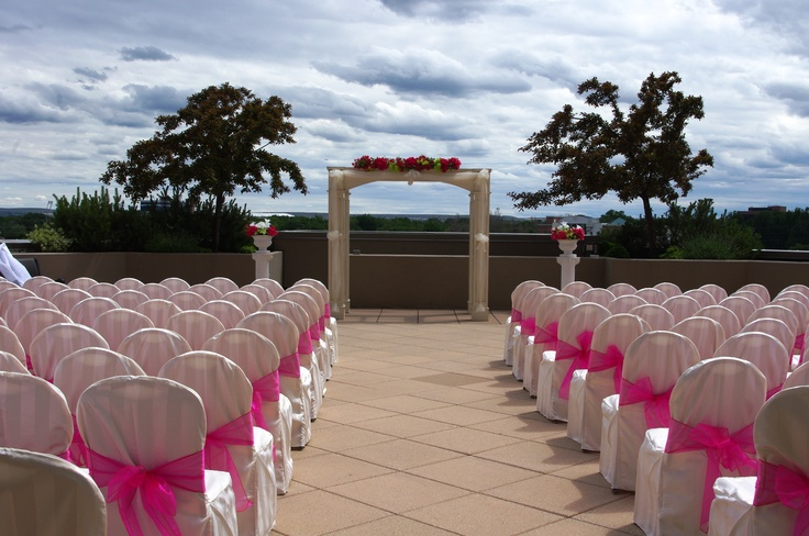 Wedding Ceremony on the Terrace at The Grove Hotel in Boise, Idaho.