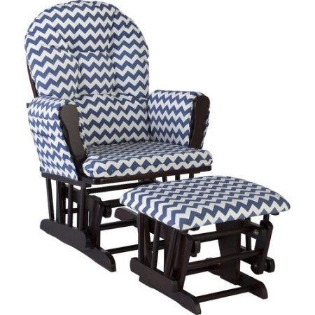 Storkcraft Chevron Hoop Glider and Ottoman Black with Navy Cushions, White