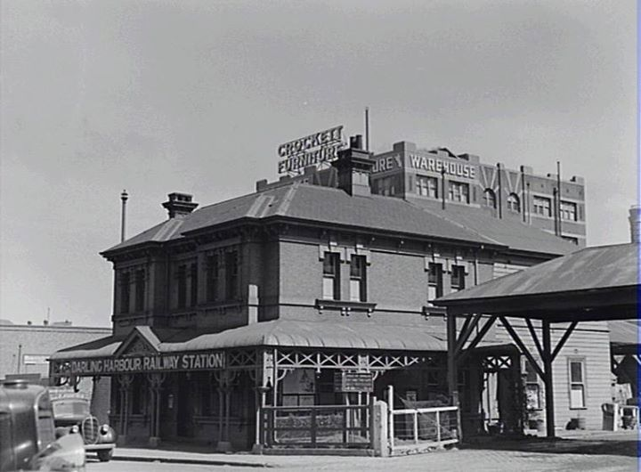 Darling Harbour Railway Station. Corner of Pier Street & Harbour Street, Haymarket ... 1940s ... SRC6489 / City of Sydney Archives
