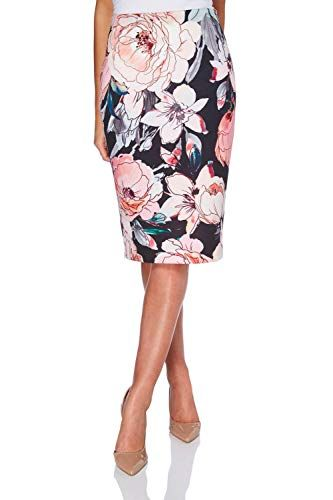 7a9c032813 Roman Originals Women Floral Pencil Skirt - Ladies Floral Scuba Knee Length  Elasticated Skirts - Pink