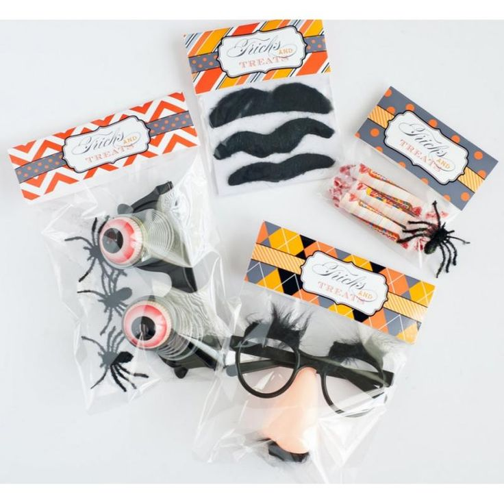 "Printable Halloween goodie bag toppers, and some neat ideas for ""tricks"" instead of treats.:"