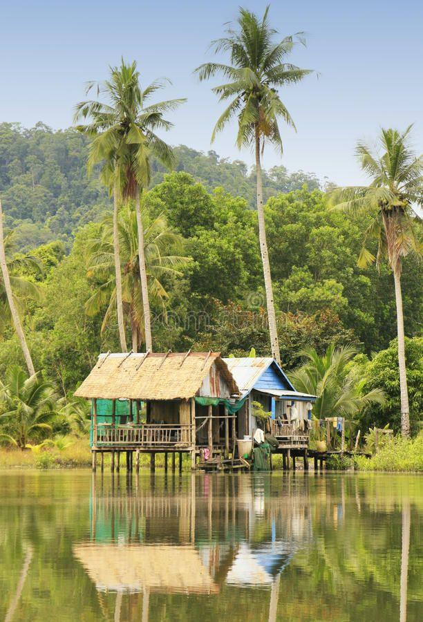 Stilt Houses, Ream National Park, Cambodia Stock Photos
