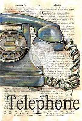 Telephone Mixed Media Drawing on Distressed, Dictionary Page - available for purchase at www.etsy.com/shop/flyingshoes - flying shoes art studio