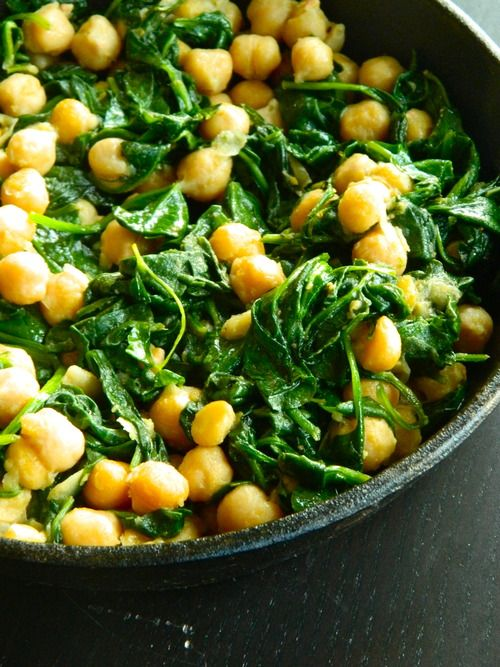 Tapas: Skillet Chickpeas - fresh spinach, chickpeas, olive oil, cumin, salt & pepper, garlic cloves