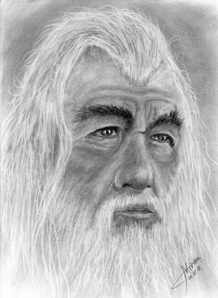 Gandalf, graphite and charcoal by Mircea Craciunel.