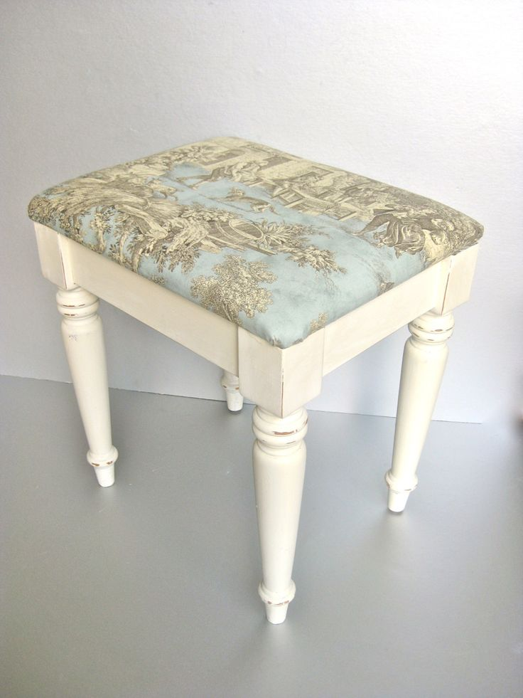 French Country Bench, Vintage Bench, Toile, Cushioned Bench, Shabby and Chic, Cottage Chic, Paris Apartment, Ivory Bench, Aqua. $80.00, via Etsy.