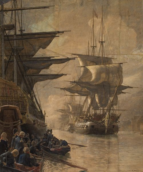 The Danish Navy is leaving the harbour for the last time in 1807