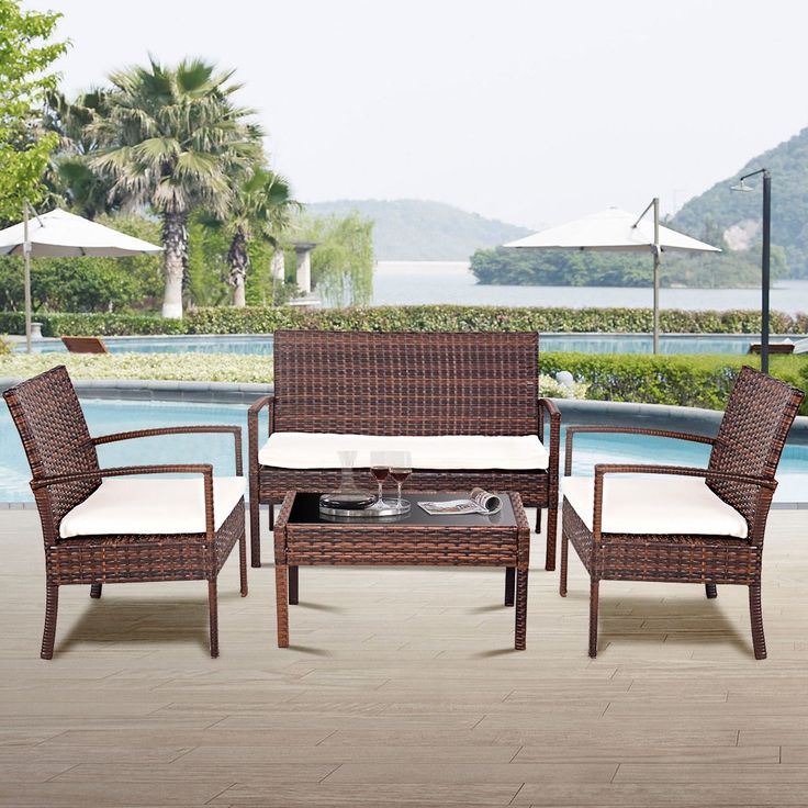 Furniture 0 Interest: Costway 4 Pc Rattan Patio Furniture Set Garden Lawn Sofa
