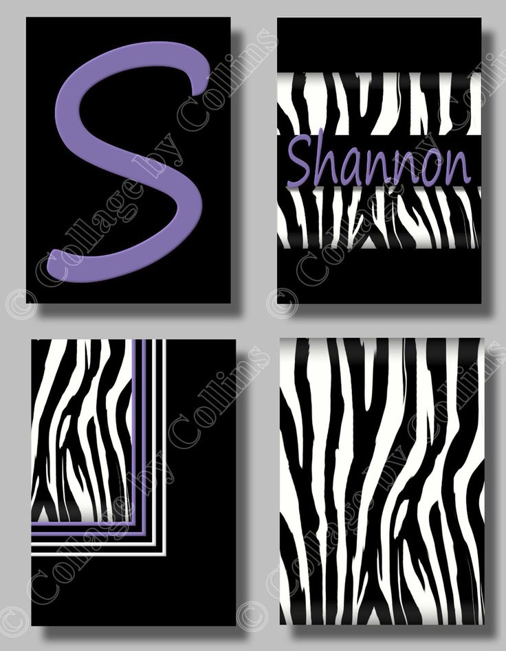 Personalized PURPLE Print ZEBRA Wall Art (4) 5x7s Decor Girls Teen Room Nursery