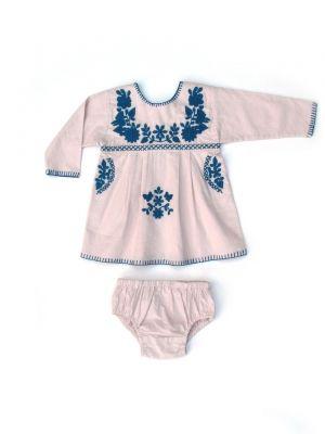 Apolina◇ 'Tina' Tunic Set - Quartz Pink (6-12m, 12-18m, 18-24m)伝統的な70年代のメキシカン刺繍ドレスの快適性&実用性とスウェーデンの伝統をミックスさせたベビーチュニック