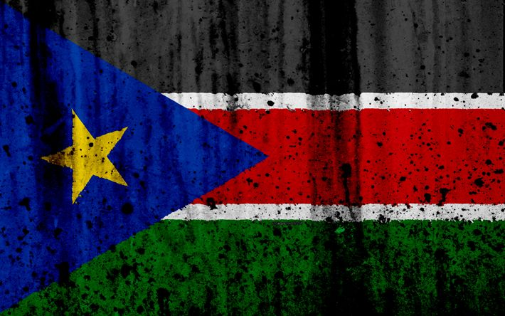 Download wallpapers South Sudan flag, 4k, grunge, flag of South Sudan, Africa, South Sudan, national symbols, South Sudan national flag