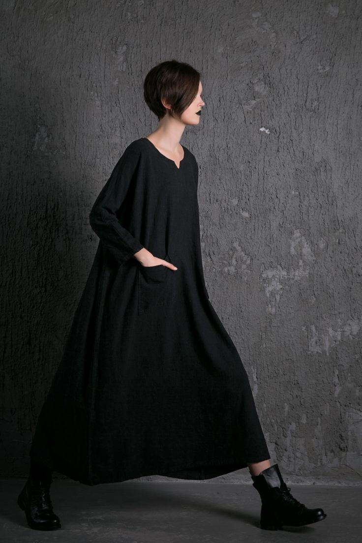 Black linen Dress Loose-Fitting dress- Casual Everyday Maxi Plus Size Linen…