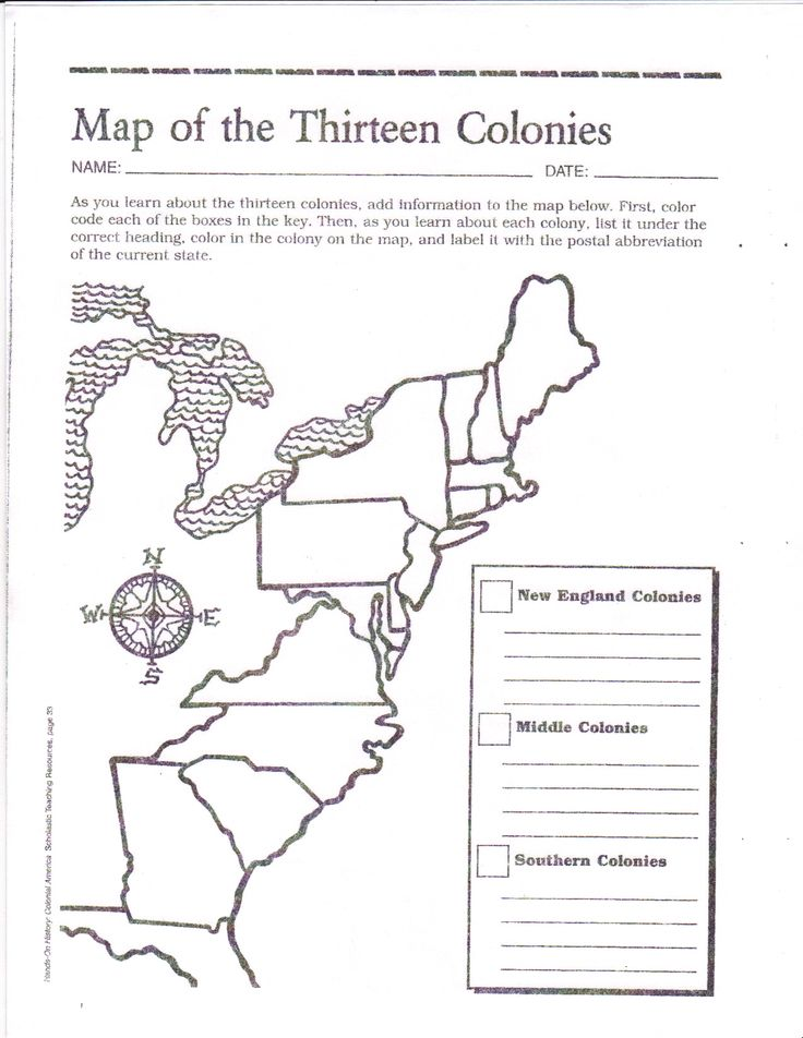 Free Printable 13 Colonies Map