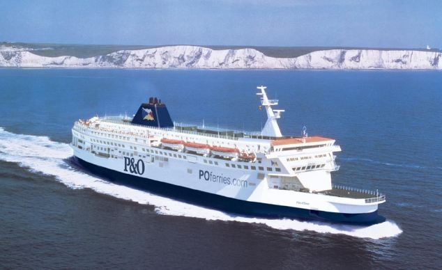 English Channel ferry ride from Dover, England to Calais, France