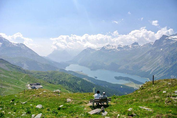 Aussicht Engadin. Graubünden Ferien Reise.