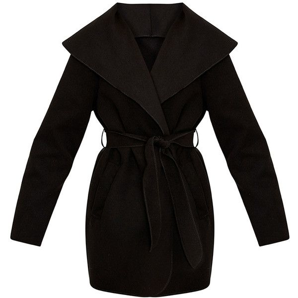 Irinie Black Waterfall Belted Coat ($30) ❤ liked on Polyvore featuring outerwear, coats, belted coat, coat with belt, waterfall coats and belt coat