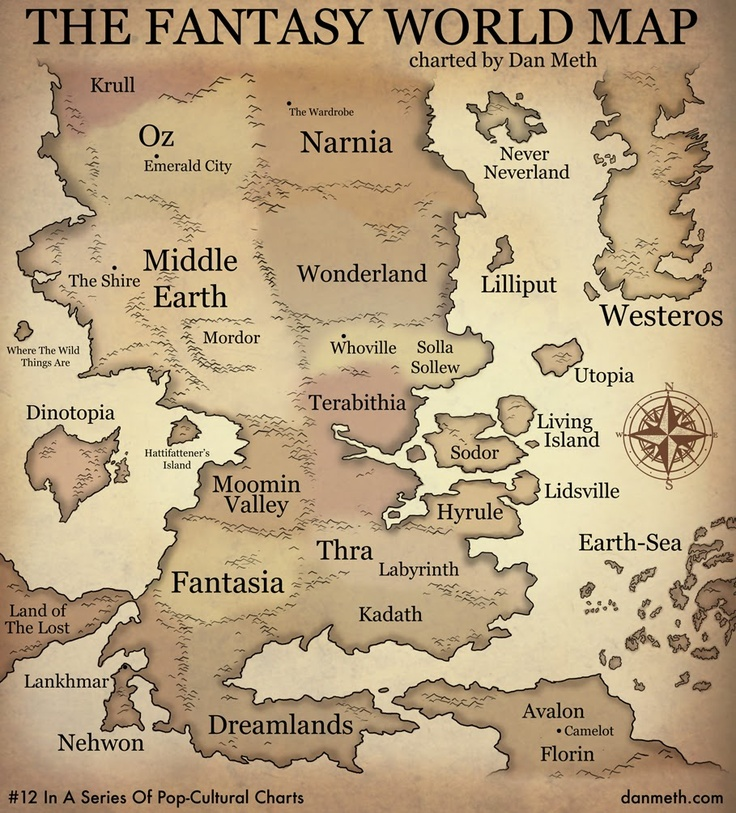 The FANTASY WORLD MAP  © Dan Meth (Cartoonist  Blogger. USA). Print  Save. Ya never know when you might need it - pfb :-) ... Copyright law requires that you credit the artist. List/Link directly to artist's website.  HOW TO FIND the ORIGINAL WEB SITE of an image: http://pinterest.com/pin/86975836525507659/ ATTRIBUTION  COPYRIGHT LAW REQUIREMENTS: http://pinterest.com/pin/86975836525792650/