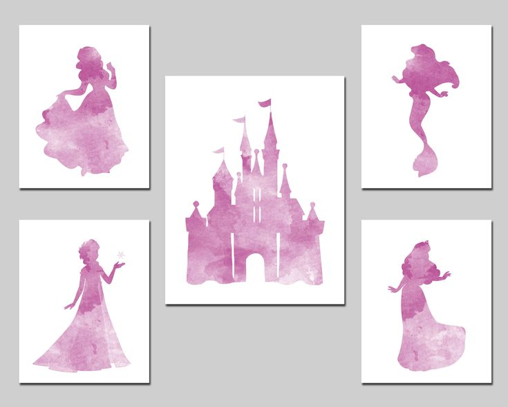 Princess nursery printable Disney inspired wall art set, watercolor Snow White Aurora Ariel Elsa, princess castle girl room decor download by AlexanderAndJJ on Etsy