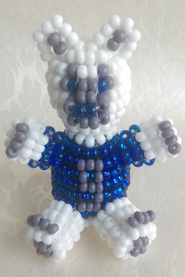 Handmade Beaded 3D Cowboys Bear Figurine, Czech Silver Lined Glass Blue Seed Beads and White and Dark Gray Seed Beads by RedMoonBededGifts on Etsy