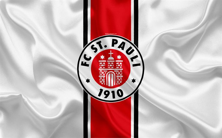 Download wallpapers St Pauli FC, 4k, white silk flag, German football club, logo, emblem, 2 Bundesliga, football, Hamburg, Germany, Second Bundesliga
