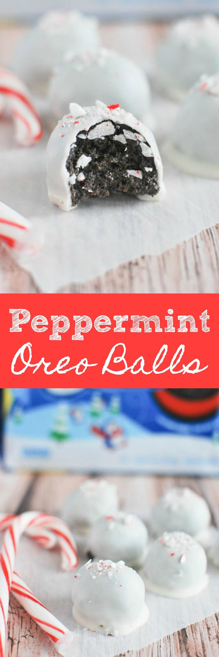 Peppermint Oreo Balls - your favorite oreo balls with a wintery twist! Only 3 ingredients!