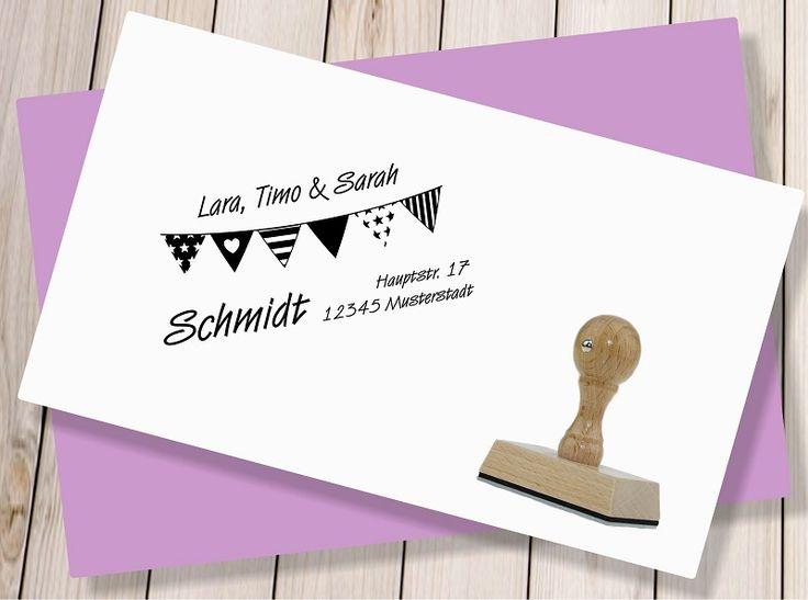 Adressstempel - ♥ Adressstempel Wimpelkette - ein Designerstück von GravurWERK bei DaWanda