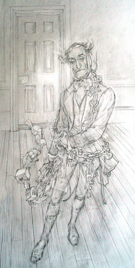PJ Lynch Wonderful Illustration Of The Ghost Jacob Marley From Dickens Classic Book Charcoal SketchChristmas CarolChristmas