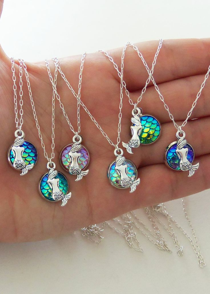 Mermaid scale necklaces with sitting mermaid charms in your choice of color by BubblegumGraffiti(dot)com