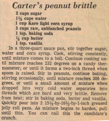 Jimmy Carter's Peanut Brittle Recipe Clipping
