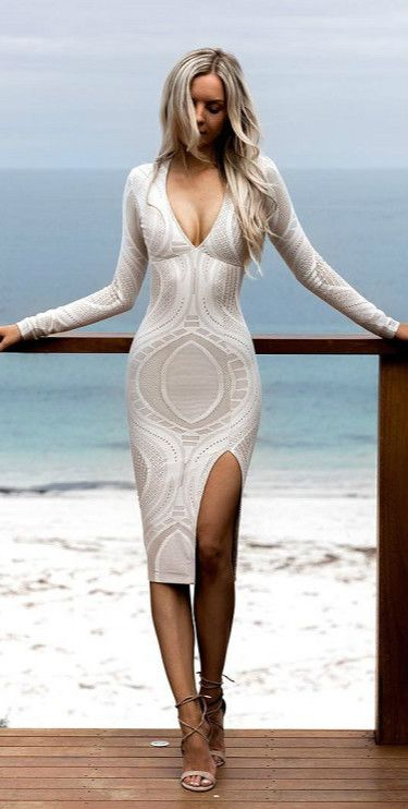 Women's Deep v Neck Long Sleeve front Slit Bodycon Party Dress