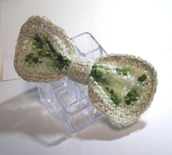 Hand made  designed  CROCHET GREEN white  BOW by rankaswedding