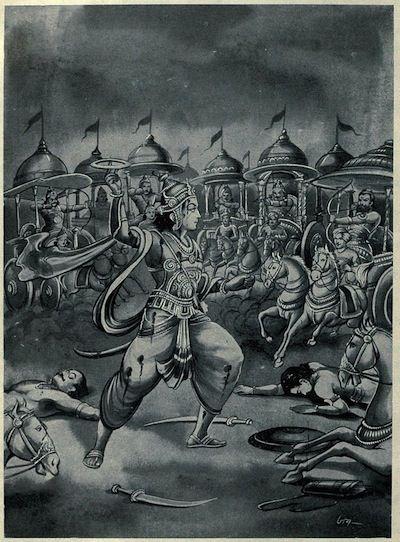 Abhimanyu_battling_alone_in_the_Chakravyuha.jpg (400×542)